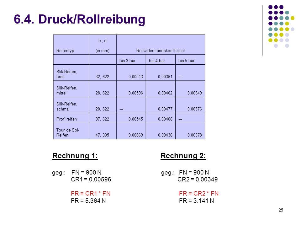 25 6.4. Druck/Rollreibung Rechnung 1: Rechnung 2: geg.: FN = 900 Ngeg.: FN = 900 N CR1 = 0,00596 CR2 = 0,00349 FR = CR1 * FN FR = CR2 * FN FR = 5.364