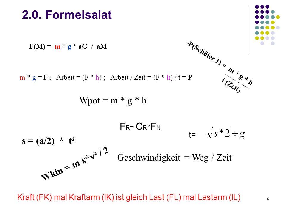 6 2.0. Formelsalat Geschwindigkeit = Weg / Zeit t= s = (a/2) * t² Wkin = m x*v² / 2 -P(Schüler 1) = m * g * h t (Zeit) Wpot = m * g * h F R = C R * F