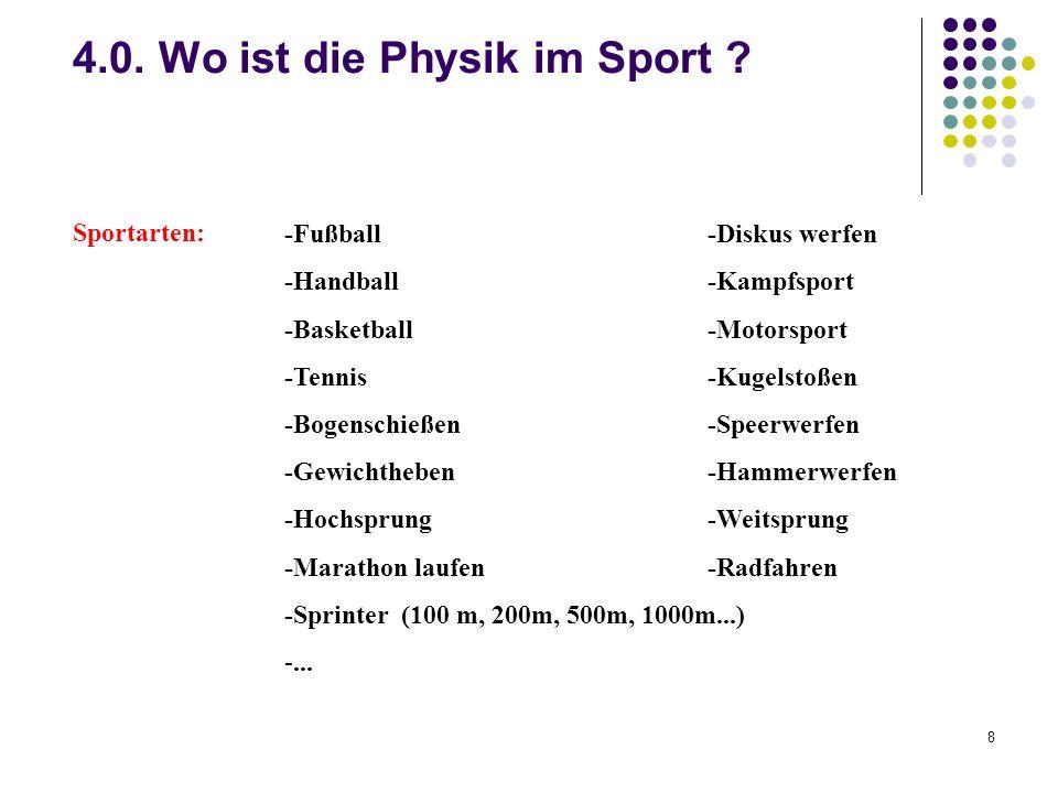 8 4.0. Wo ist die Physik im Sport ? Sportarten: -Fußball -Diskus werfen -Handball -Kampfsport -Basketball-Motorsport -Tennis -Kugelstoßen -Bogenschieß