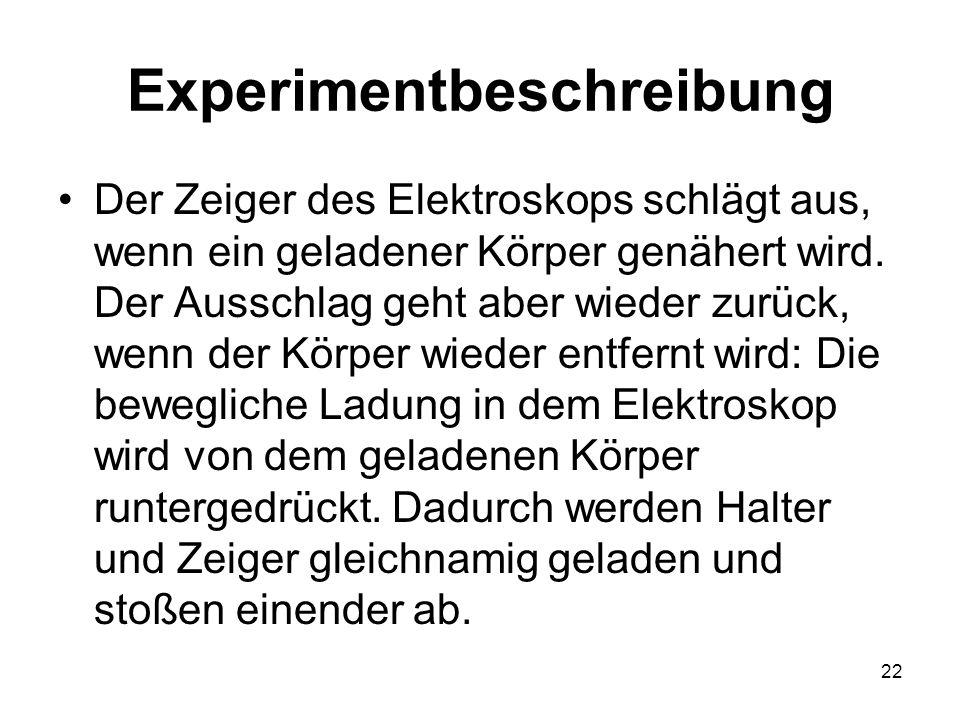 22 Experimentbeschreibung Der Zeiger des Elektroskops schlägt aus, wenn ein geladener Körper genähert wird. Der Ausschlag geht aber wieder zurück, wen