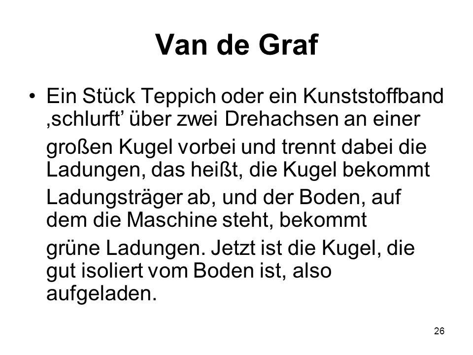 26 Van de Graf Ein Stück Teppich oder ein Kunststoffband schlurft über zwei Drehachsen an einer großen Kugel vorbei und trennt dabei die Ladungen, das