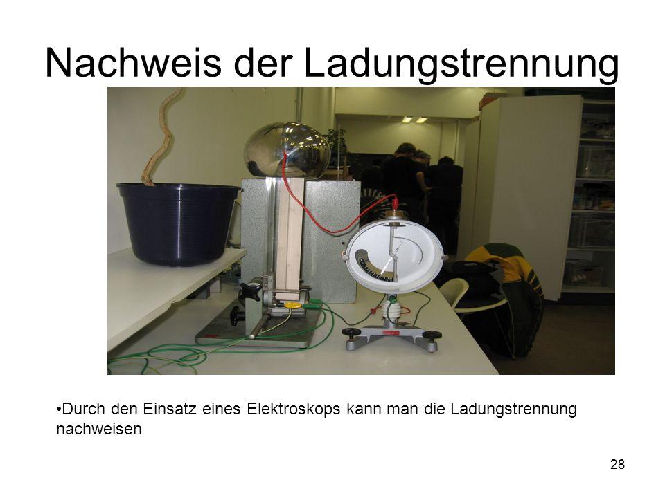 28 Nachweis der Ladungstrennung Durch den Einsatz eines Elektroskops kann man die Ladungstrennung nachweisen