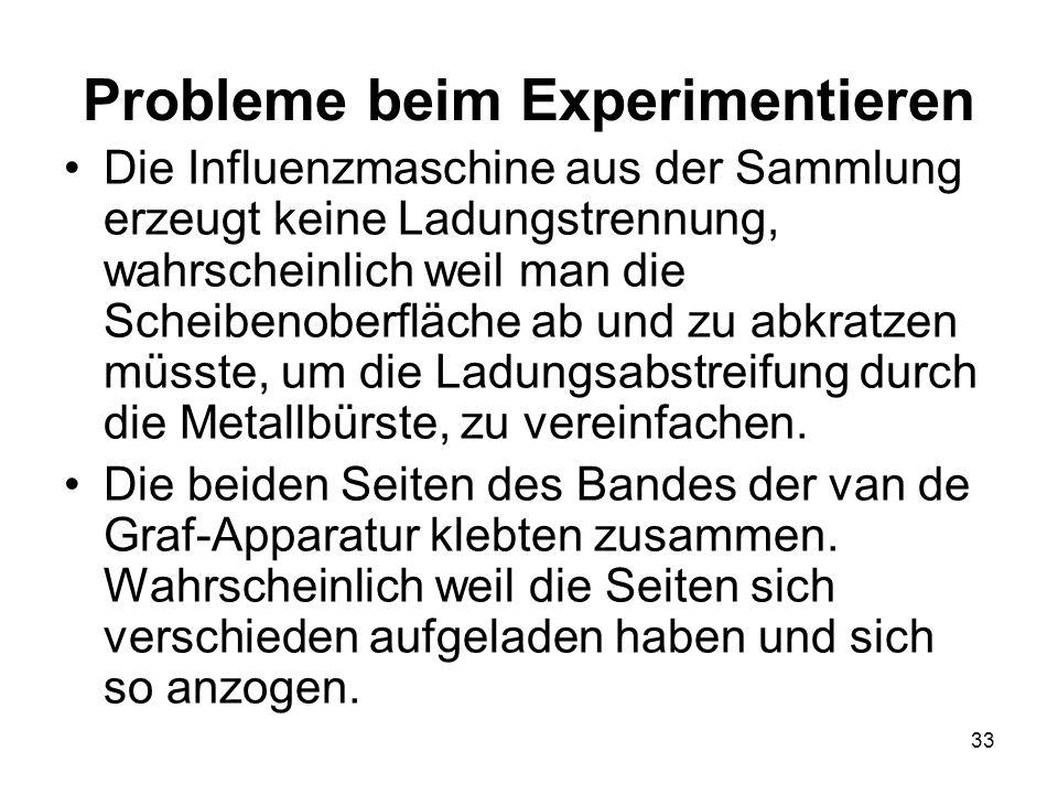 33 Probleme beim Experimentieren Die Influenzmaschine aus der Sammlung erzeugt keine Ladungstrennung, wahrscheinlich weil man die Scheibenoberfläche a