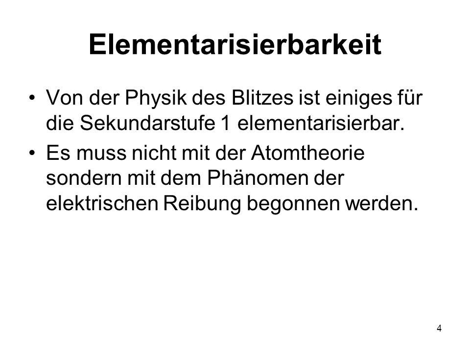 4 Elementarisierbarkeit Von der Physik des Blitzes ist einiges für die Sekundarstufe 1 elementarisierbar. Es muss nicht mit der Atomtheorie sondern mi