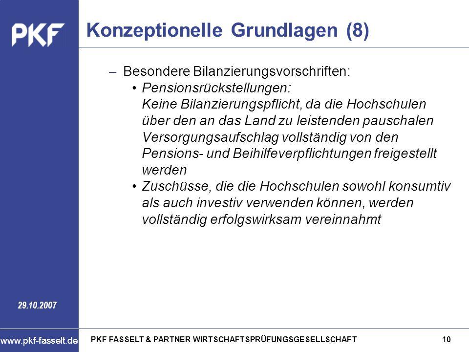 PKF FASSELT & PARTNER WIRTSCHAFTSPRÜFUNGSGESELLSCHAFT10 www.pkf-fasselt.de 29.10.2007 Konzeptionelle Grundlagen (8) –Besondere Bilanzierungsvorschrift
