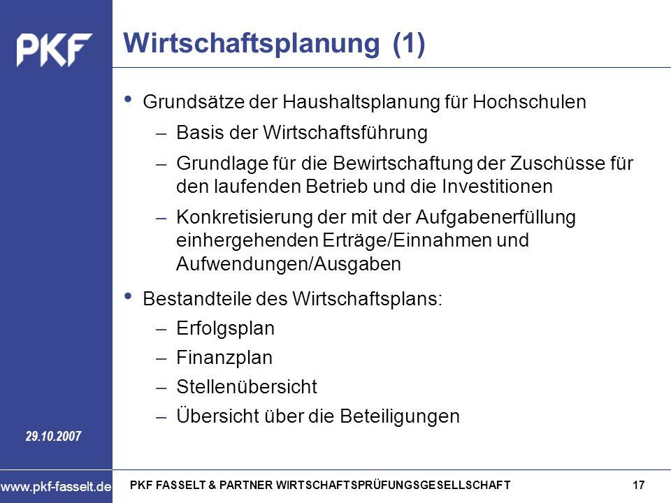 PKF FASSELT & PARTNER WIRTSCHAFTSPRÜFUNGSGESELLSCHAFT17 www.pkf-fasselt.de 29.10.2007 Wirtschaftsplanung (1) Grundsätze der Haushaltsplanung für Hochs