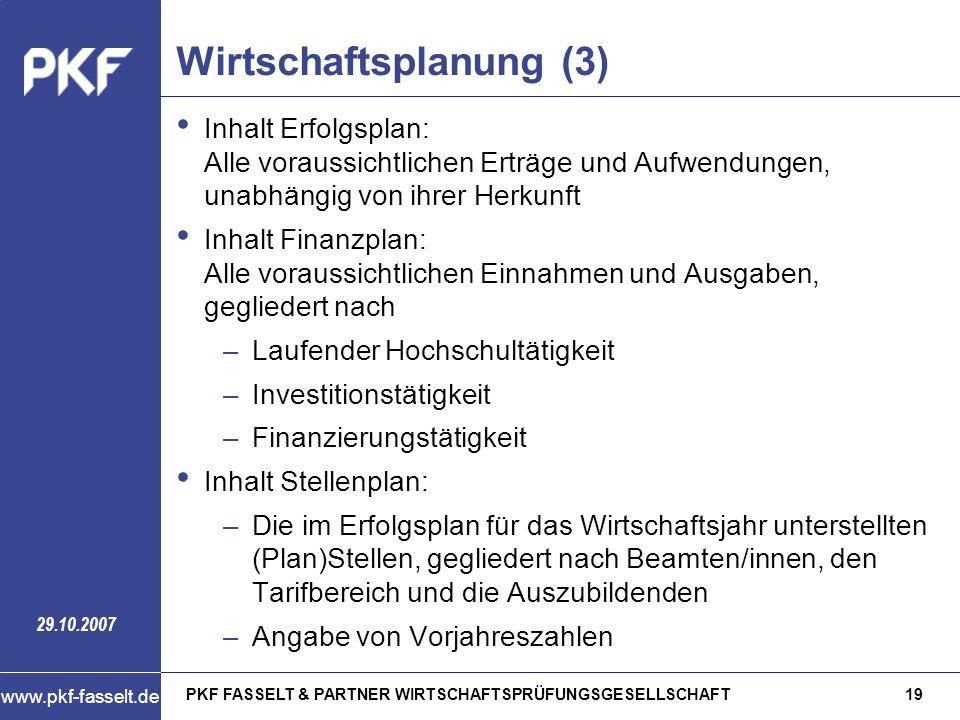 PKF FASSELT & PARTNER WIRTSCHAFTSPRÜFUNGSGESELLSCHAFT19 www.pkf-fasselt.de 29.10.2007 Wirtschaftsplanung (3) Inhalt Erfolgsplan: Alle voraussichtliche