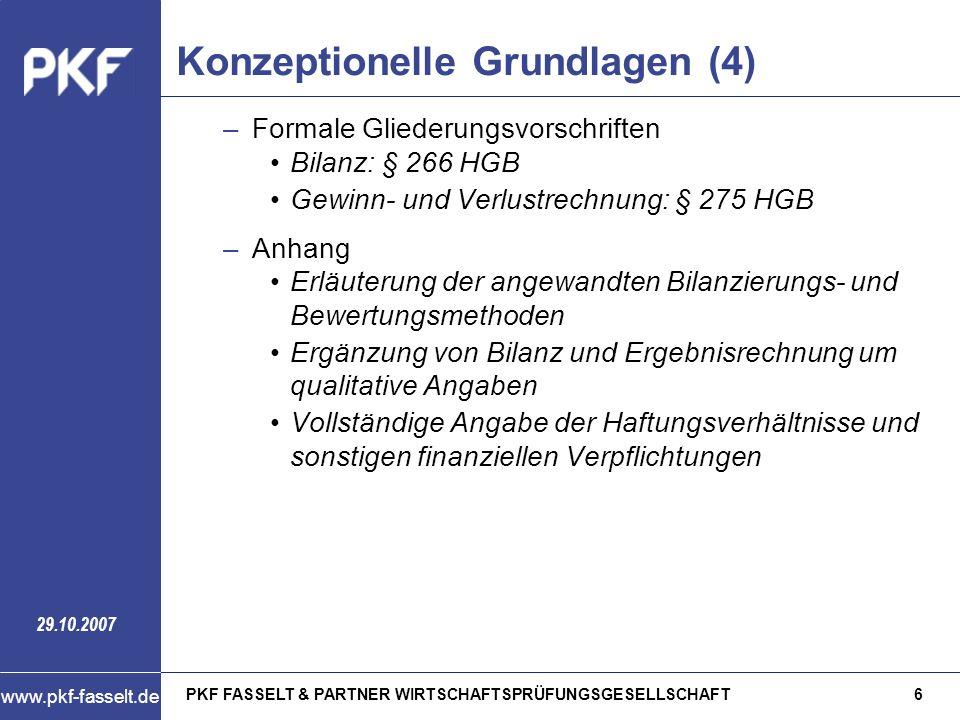 PKF FASSELT & PARTNER WIRTSCHAFTSPRÜFUNGSGESELLSCHAFT7 www.pkf-fasselt.de 29.10.2007 Konzeptionelle Grundlagen (5) –Lagebericht Erweiterung der Jahresabschlussangaben durch gesonderte Berichterstattung über –die wichtigen Ergebnisse des Jahresabschlusses –Vorgänge von besonderer Bedeutung des Geschäftsjahres –Vorgänge von besonderer Bedeutung, die nach dem Bilanzstichtag eingetreten sind Ausgewogene und umfassende Analyse der Vermögens-, Finanz- und Ertragslage Chancen und Risiken für die künftige Entwicklung
