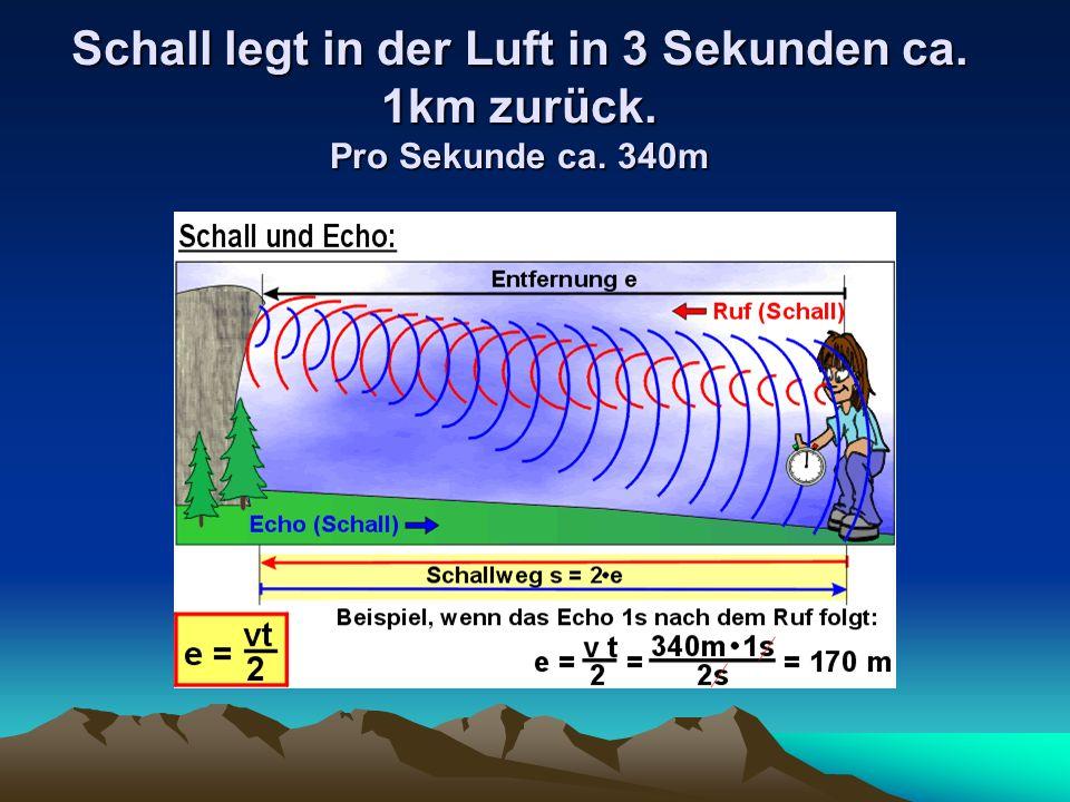 Schall legt in der Luft in 3 Sekunden ca. 1km zurück. Pro Sekunde ca. 340m