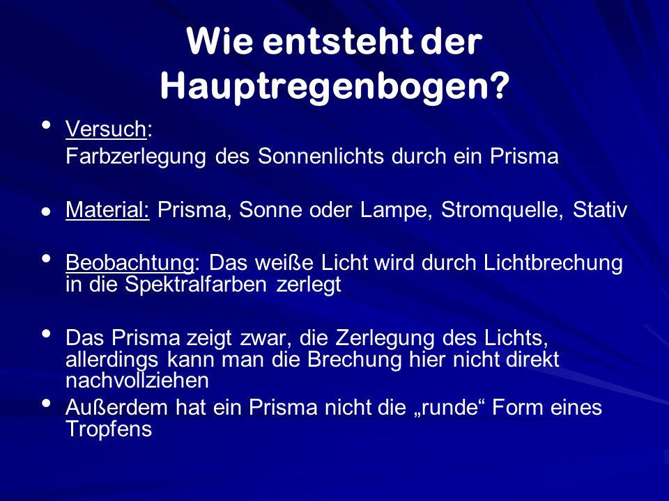 Wie entsteht der Hauptregenbogen? Versuch: Farbzerlegung des Sonnenlichts durch ein Prisma Material: Prisma, Sonne oder Lampe, Stromquelle, Stativ Beo