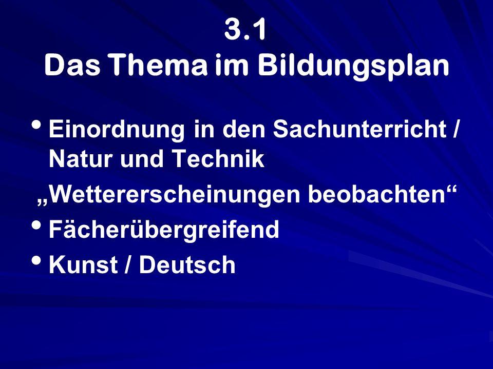 3.1 Das Thema im Bildungsplan Einordnung in den Sachunterricht / Natur und Technik Wettererscheinungen beobachten Fächerübergreifend Kunst / Deutsch