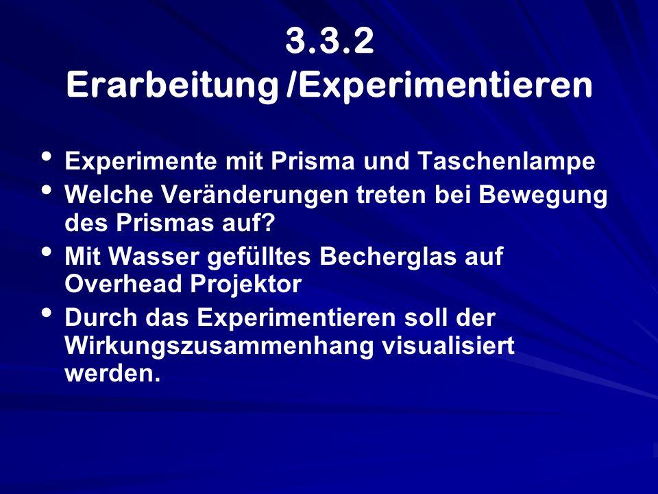 3.3.2 Erarbeitung /Experimentieren Experimente mit Prisma und Taschenlampe Welche Veränderungen treten bei Bewegung des Prismas auf? Mit Wasser gefüll