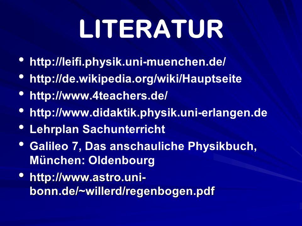 LITERATUR http://leifi.physik.uni-muenchen.de/ http://de.wikipedia.org/wiki/Hauptseite http://www.4teachers.de/ http://www.didaktik.physik.uni-erlange