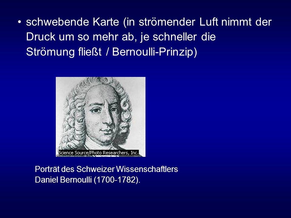 schwebende Karte (in strömender Luft nimmt der Druck um so mehr ab, je schneller die Strömung fließt / Bernoulli-Prinzip) Porträt des Schweizer Wissenschaftlers Daniel Bernoulli (1700-1782).
