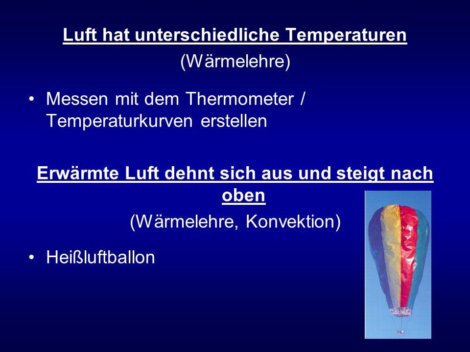 Luft hat unterschiedliche Temperaturen (Wärmelehre) Messen mit dem Thermometer / Temperaturkurven erstellen Erwärmte Luft dehnt sich aus und steigt nach oben (Wärmelehre, Konvektion) Heißluftballon