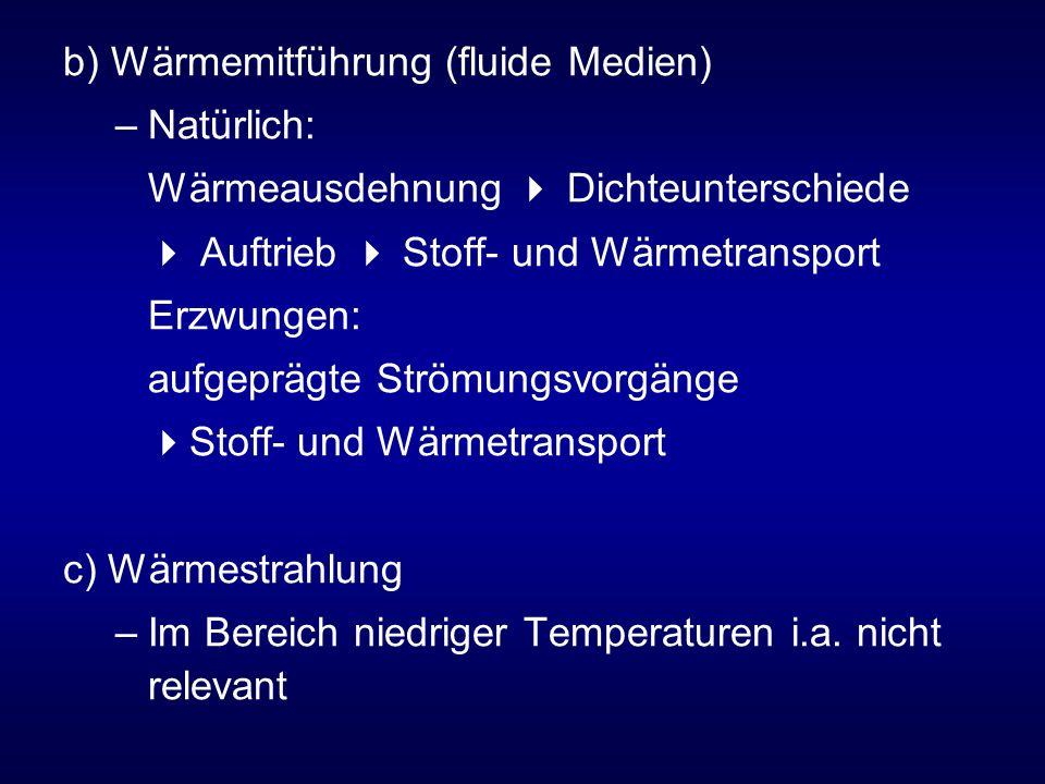 b) Wärmemitführung (fluide Medien) –Natürlich: Wärmeausdehnung Dichteunterschiede Auftrieb Stoff- und Wärmetransport Erzwungen: aufgeprägte Strömungsvorgänge Stoff- und Wärmetransport c) Wärmestrahlung –Im Bereich niedriger Temperaturen i.a.