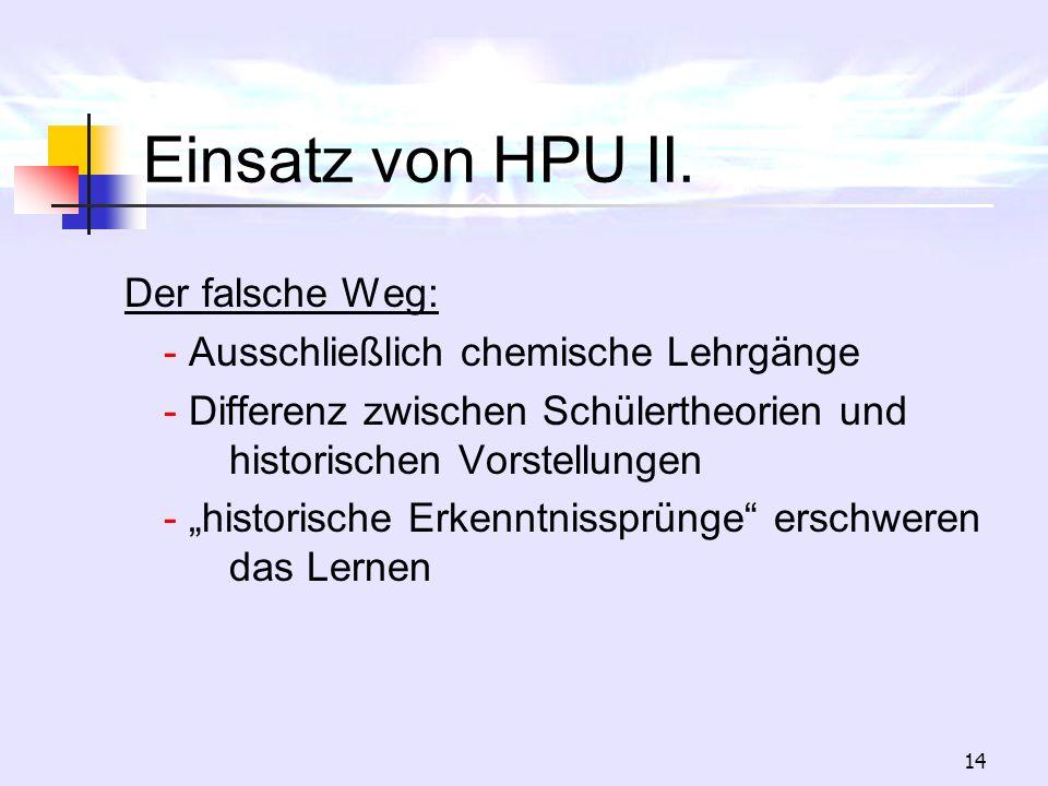 14 Einsatz von HPU II. Der falsche Weg: - Ausschließlich chemische Lehrgänge - Differenz zwischen Schülertheorien und historischen Vorstellungen - his