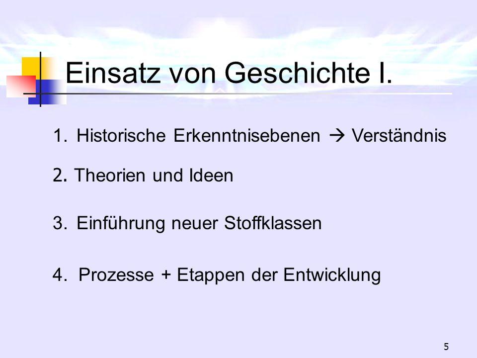 5 Einsatz von Geschichte I. 1.Historische Erkenntnisebenen Verständnis 2. Theorien und Ideen 4. Prozesse + Etappen der Entwicklung 3.Einführung neuer