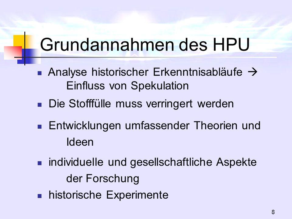 8 Grundannahmen des HPU Analyse historischer Erkenntnisabläufe Einfluss von Spekulation Die Stofffülle muss verringert werden Entwicklungen umfassende