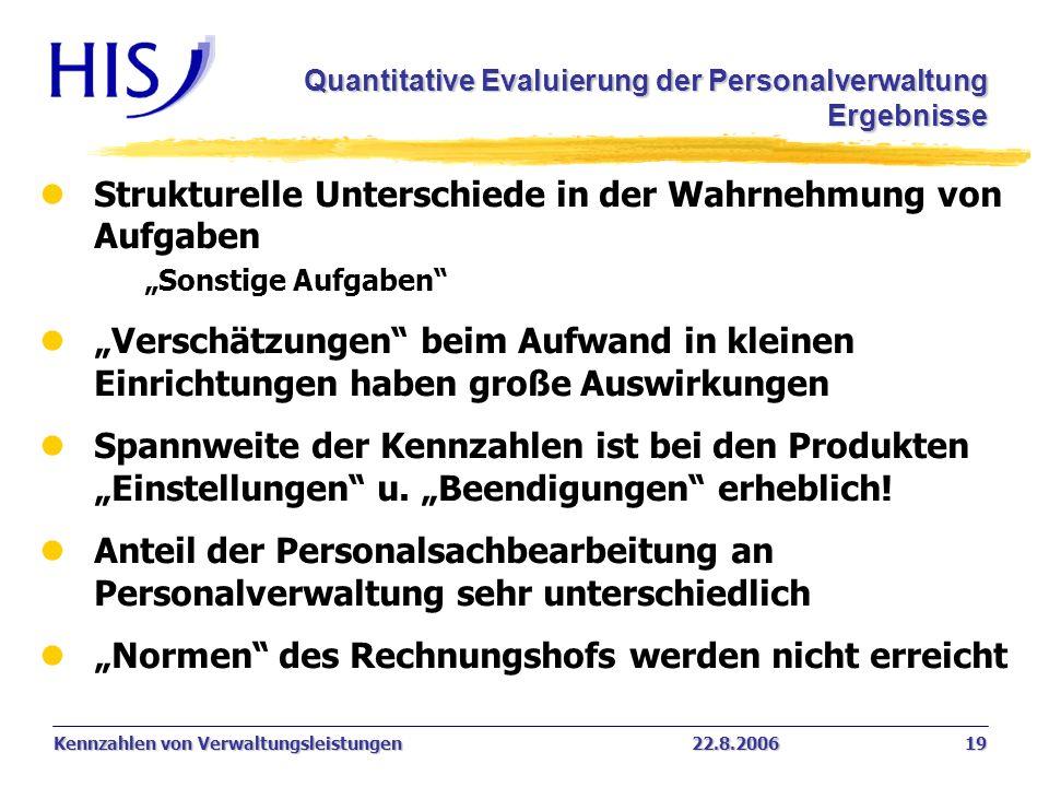 Kennzahlen von Verwaltungsleistungen22.8.2006 19 lStrukturelle Unterschiede in der Wahrnehmung von Aufgaben Sonstige Aufgaben lVerschätzungen beim Auf