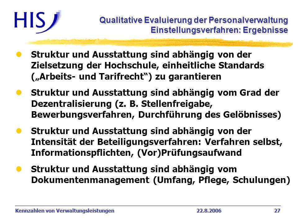 Kennzahlen von Verwaltungsleistungen22.8.2006 27 Qualitative Evaluierung der Personalverwaltung Einstellungsverfahren: Ergebnisse Einstellungsverfahre