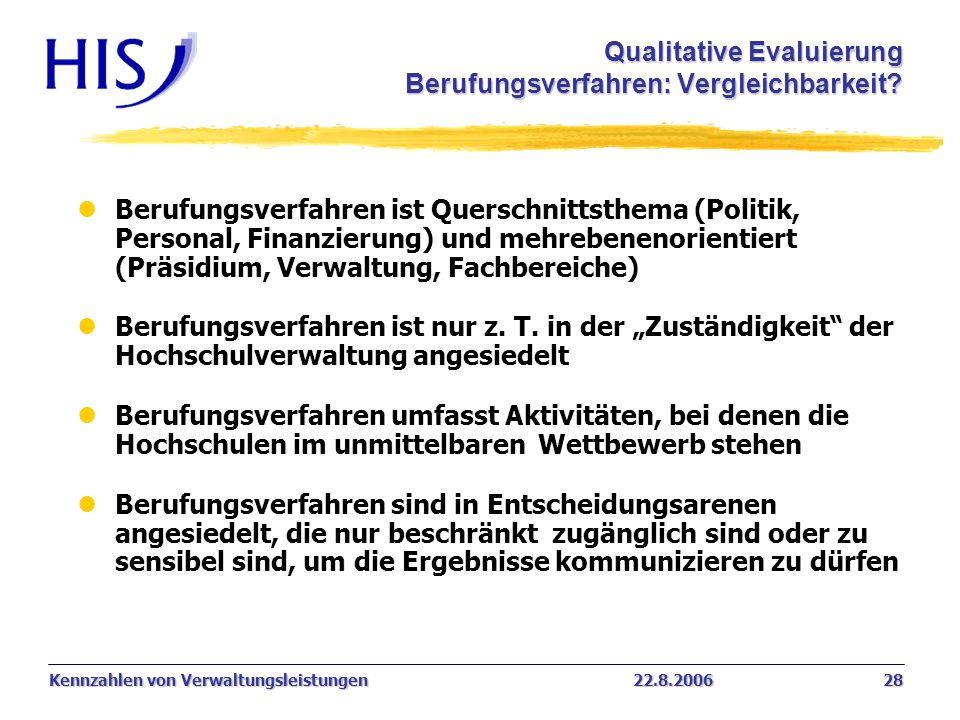 Kennzahlen von Verwaltungsleistungen22.8.2006 28 lBerufungsverfahren ist Querschnittsthema (Politik, Personal, Finanzierung) und mehrebenenorientiert