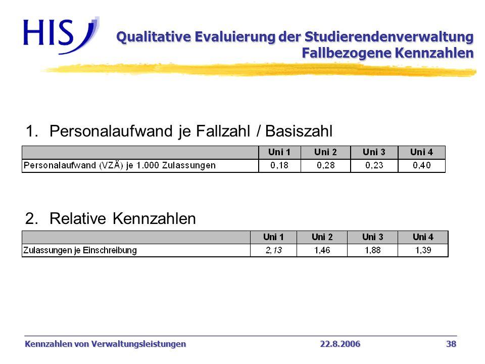 Kennzahlen von Verwaltungsleistungen22.8.2006 38 1.Personalaufwand je Fallzahl / Basiszahl 2.Relative Kennzahlen Qualitative Evaluierung der Studieren