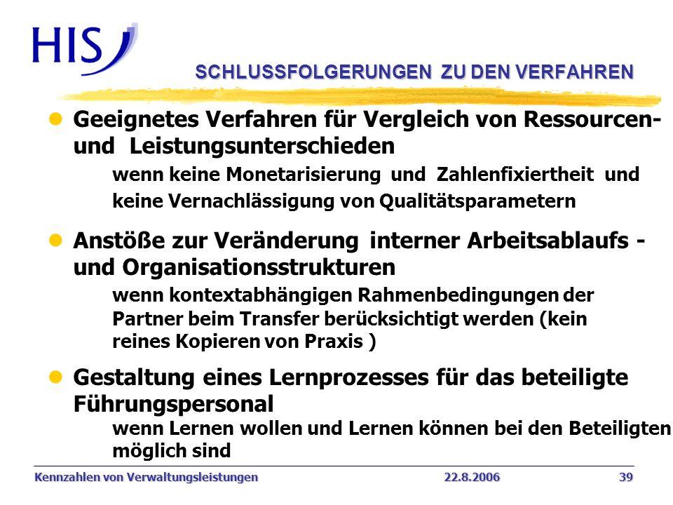 Kennzahlen von Verwaltungsleistungen22.8.2006 39 SCHLUSSFOLGERUNGEN ZU DEN VERFAHREN l Geeignetes Verfahren für Vergleich von Ressourcen- und Leistung