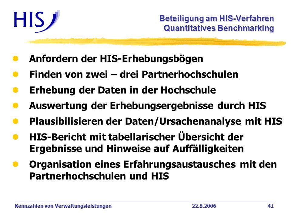Kennzahlen von Verwaltungsleistungen22.8.2006 41 Beteiligung am HIS-Verfahren Quantitatives Benchmarking l Anfordern der HIS-Erhebungsbögen l Finden v