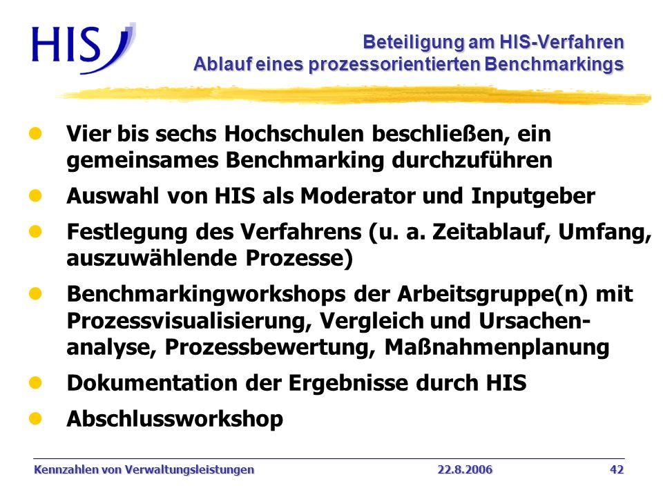 Kennzahlen von Verwaltungsleistungen22.8.2006 42 Beteiligung am HIS-Verfahren Ablauf eines prozessorientierten Benchmarkings l Vier bis sechs Hochschu