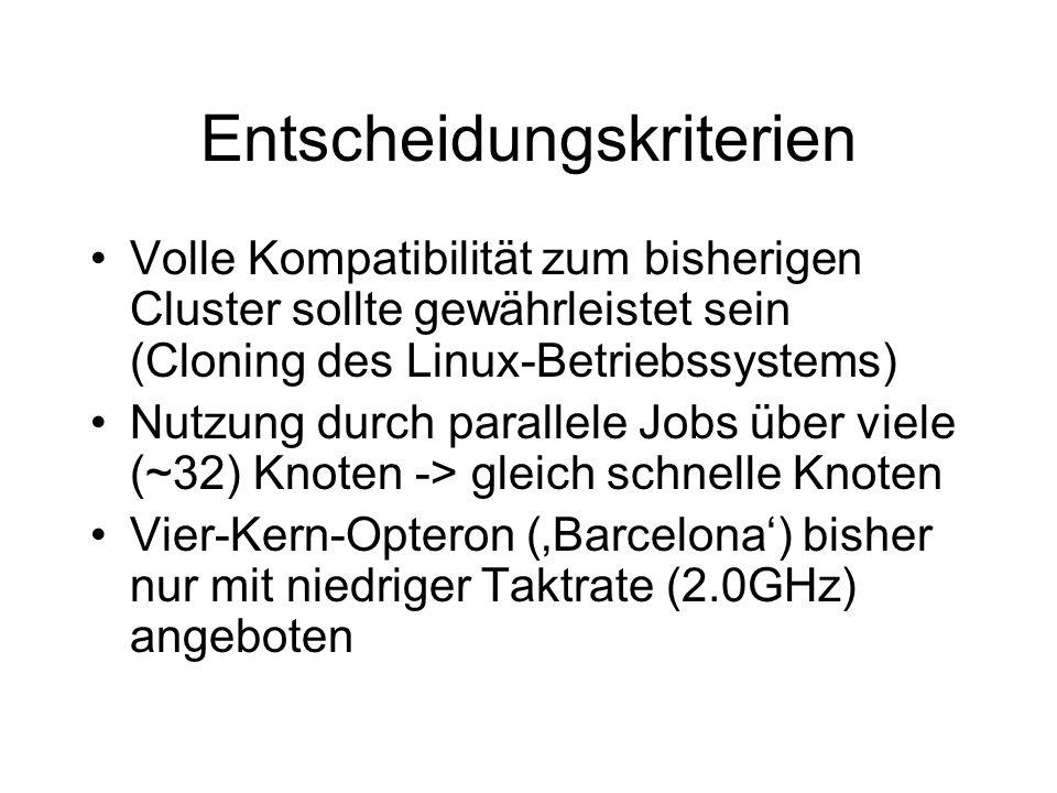 Entscheidungskriterien Volle Kompatibilität zum bisherigen Cluster sollte gewährleistet sein (Cloning des Linux-Betriebssystems) Nutzung durch parallele Jobs über viele (~32) Knoten -> gleich schnelle Knoten Vier-Kern-Opteron (Barcelona) bisher nur mit niedriger Taktrate (2.0GHz) angeboten