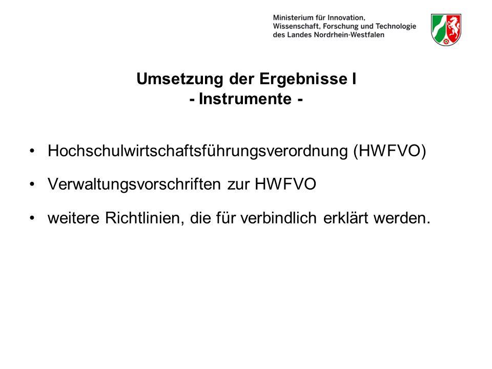 Umsetzung der Ergebnisse I - Instrumente - Hochschulwirtschaftsführungsverordnung (HWFVO) Verwaltungsvorschriften zur HWFVO weitere Richtlinien, die für verbindlich erklärt werden.