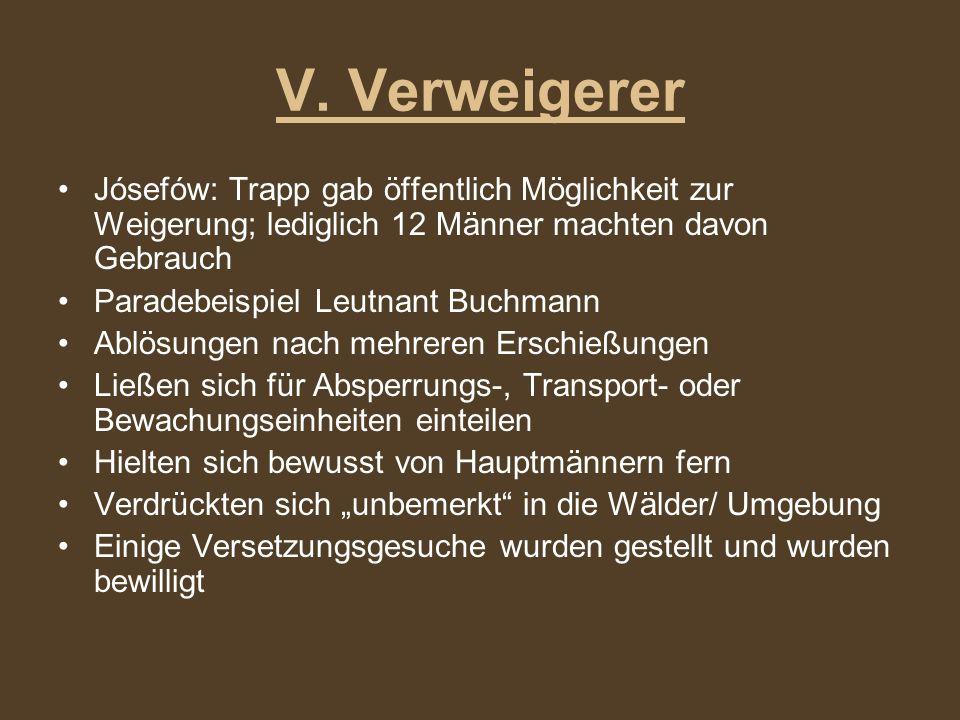 Jósefów: Trapp gab öffentlich Möglichkeit zur Weigerung; lediglich 12 Männer machten davon Gebrauch Paradebeispiel Leutnant Buchmann Ablösungen nach m
