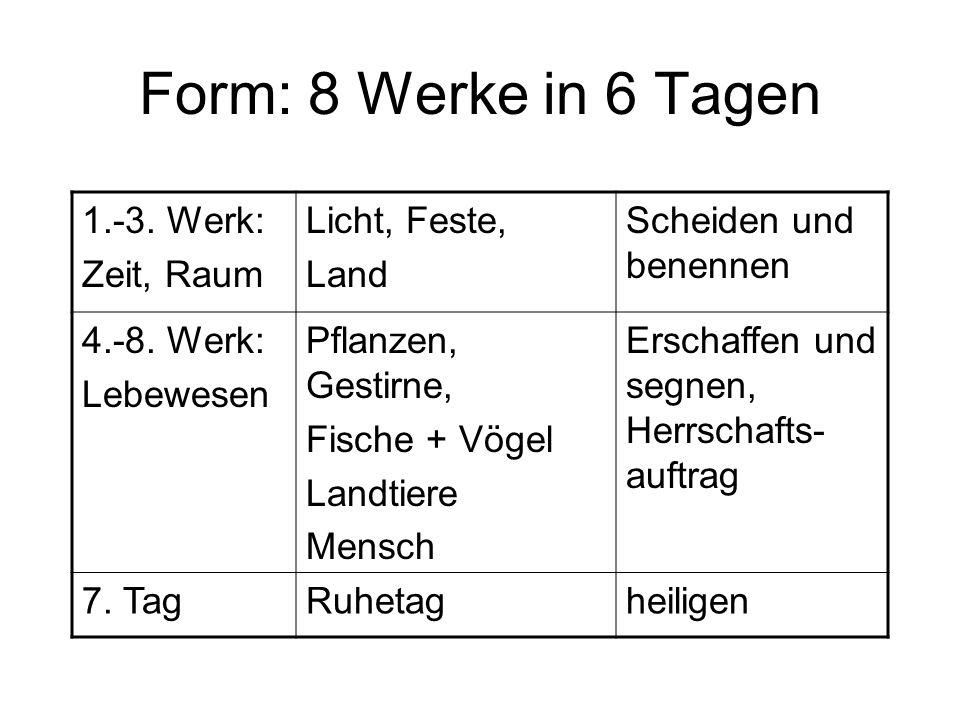 Form: 8 Werke in 6 Tagen 1.-3.Werk: Zeit, Raum Licht, Feste, Land Scheiden und benennen 4.-8.