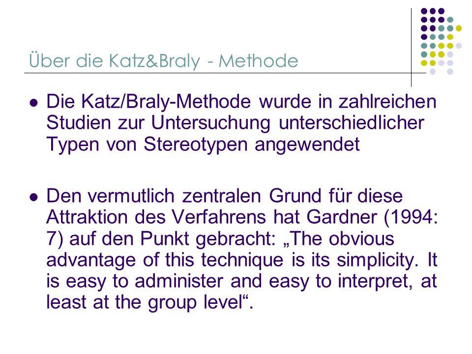 Über die Katz&Braly - Methode Die Katz/Braly-Methode wurde in zahlreichen Studien zur Untersuchung unterschiedlicher Typen von Stereotypen angewendet