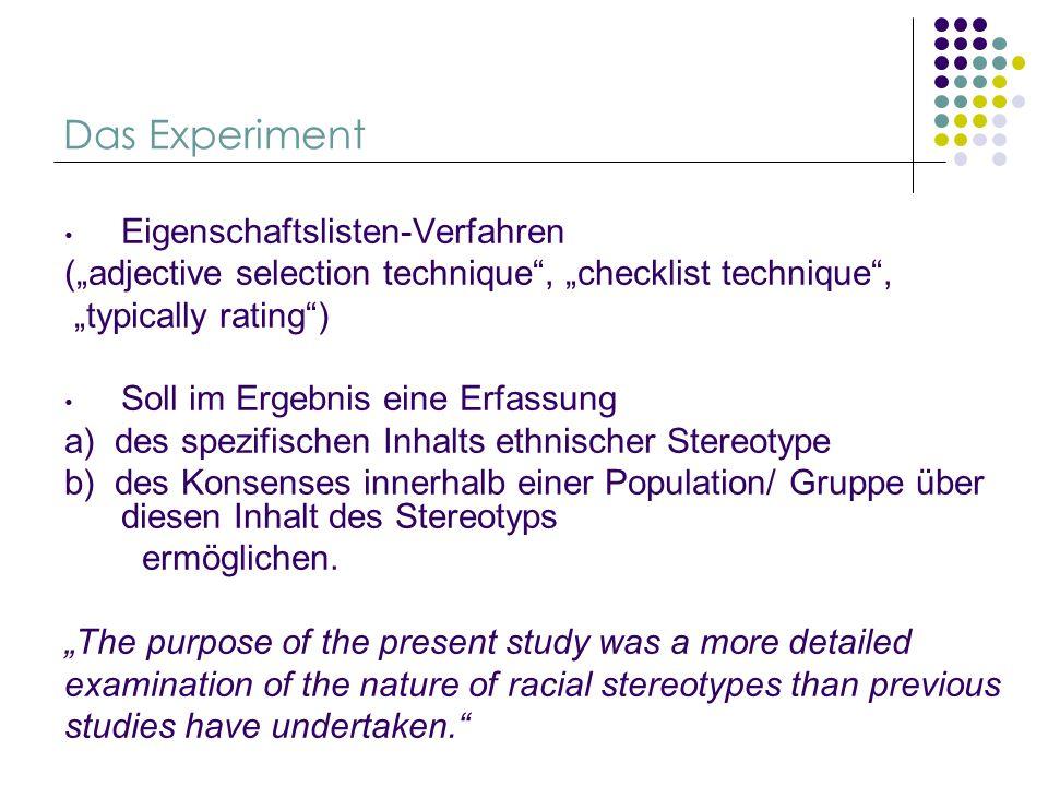 Das Experiment Eigenschaftslisten-Verfahren (adjective selection technique, checklist technique, typically rating) Soll im Ergebnis eine Erfassung a)
