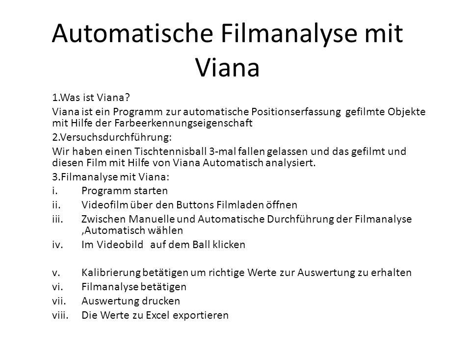 Automatische Filmanalyse mit Viana 1.Was ist Viana? Viana ist ein Programm zur automatische Positionserfassung gefilmte Objekte mit Hilfe der Farbeerk