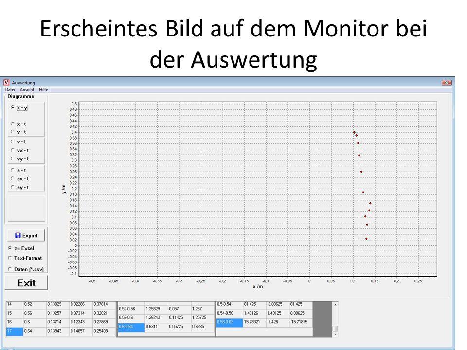 Erscheintes Bild auf dem Monitor bei der Auswertung