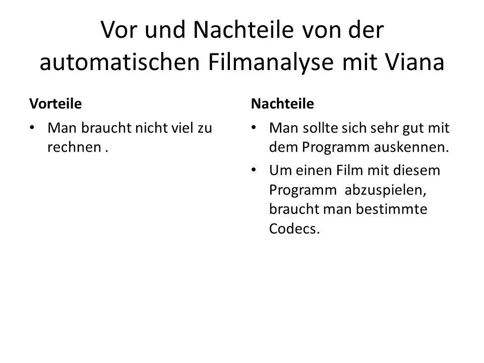 Vor und Nachteile von der automatischen Filmanalyse mit Viana Vorteile Man braucht nicht viel zu rechnen. Nachteile Man sollte sich sehr gut mit dem P