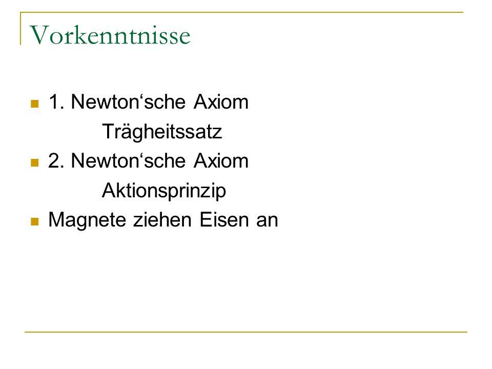 Vorkenntnisse 1.Newtonsche Axiom Trägheitssatz 2.