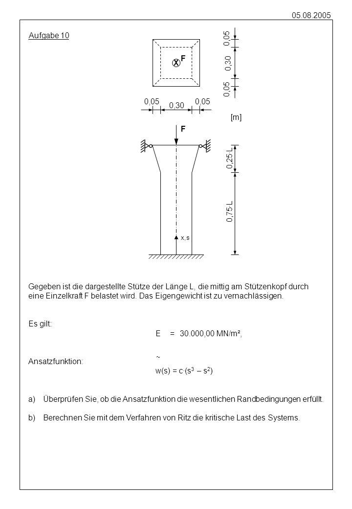 05.08.2005 Aufgabe 10 Gegeben ist die dargestellte Stütze der Länge L, die mittig am Stützenkopf durch eine Einzelkraft F belastet wird. Das Eigengewi