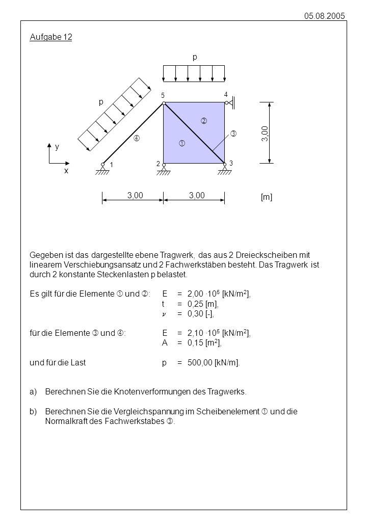 05.08.2005 Aufgabe 12 Gegeben ist das dargestellte ebene Tragwerk, das aus 2 Dreieckscheiben mit linearem Verschiebungsansatz und 2 Fachwerkstäben bes