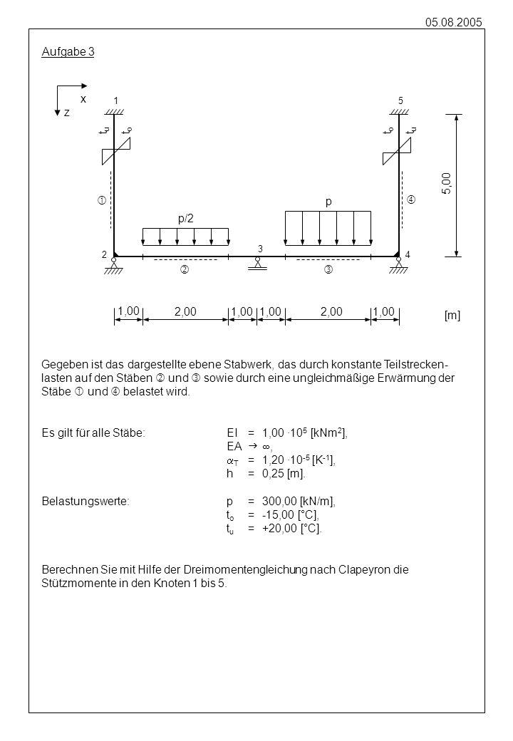05.08.2005 Gegeben ist das dargestellte ebene Stabwerk, das durch eine global wirkende Streckenlast auf dem Stab und durch eine Stützensenkung 3Z im Knoten 3 belastet wird.