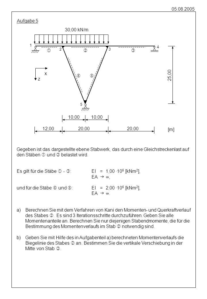 05.08.2005 Aufgabe 5 Gegeben ist das dargestellte ebene Stabwerk, das durch eine Gleichstreckenlast auf den Stäben und belastet wird. Es gilt für die