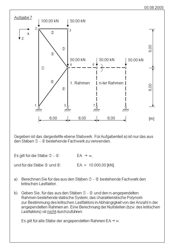 05.08.2005 Aufgabe 8 2,00 1 2 [m] 3 M 4 2,00 3,00 2,00 R(t) r (t) R(t) [kN] t [s] 0 0,20 R0R0 Gegeben ist das dargestellte ebene Stabwerk aus masselosen Stäben, das am Knoten 4 mit einer Einzelmasse M belegt ist.