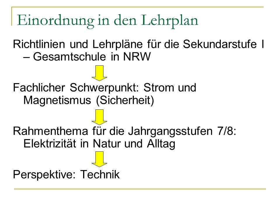 Einordnung in den Lehrplan Richtlinien und Lehrpläne für die Sekundarstufe I – Gesamtschule in NRW Fachlicher Schwerpunkt: Strom und Magnetismus (Sich
