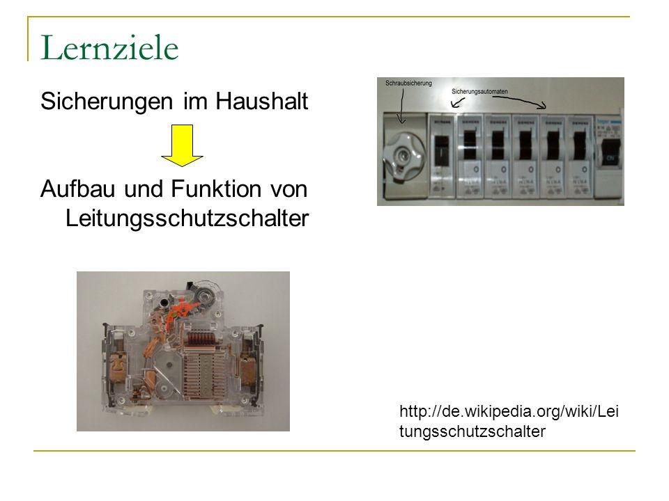 Lernziele Sicherungen im Haushalt Aufbau und Funktion von Leitungsschutzschalter http://de.wikipedia.org/wiki/Lei tungsschutzschalter