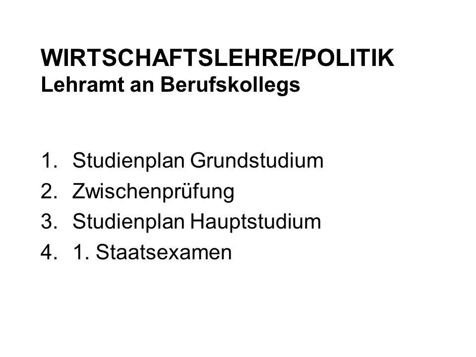 WIRTSCHAFTSLEHRE/POLITIK Lehramt an Berufskollegs 1.Studienplan Grundstudium 2.Zwischenprüfung 3.Studienplan Hauptstudium 4.1. Staatsexamen