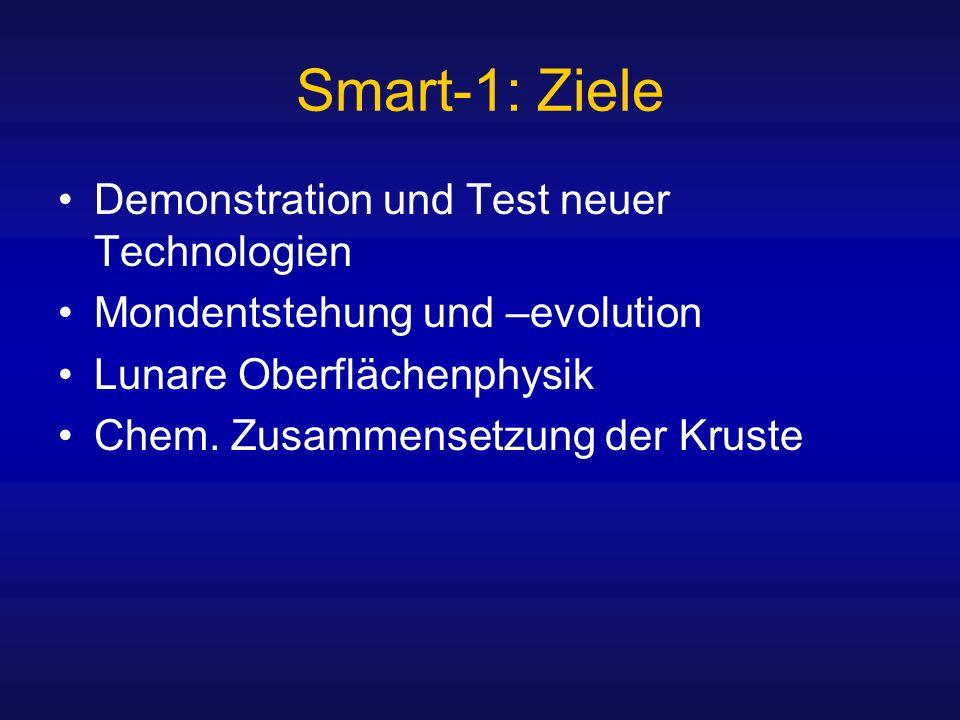 Smart-1: Ziele Demonstration und Test neuer Technologien Mondentstehung und –evolution Lunare Oberflächenphysik Chem. Zusammensetzung der Kruste