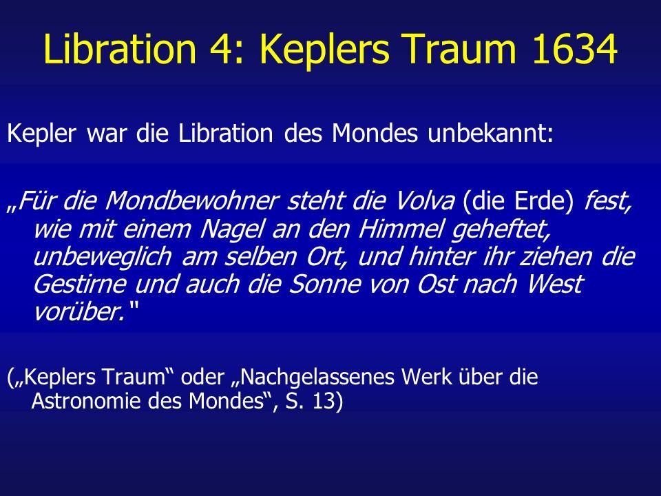 Libration 4: Keplers Traum 1634 Kepler war die Libration des Mondes unbekannt: Für die Mondbewohner steht die Volva (die Erde) fest, wie mit einem Nagel an den Himmel geheftet, unbeweglich am selben Ort, und hinter ihr ziehen die Gestirne und auch die Sonne von Ost nach West vorüber.